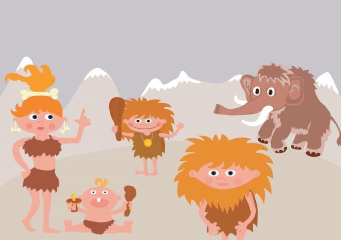 原始人の家族のイラスト
